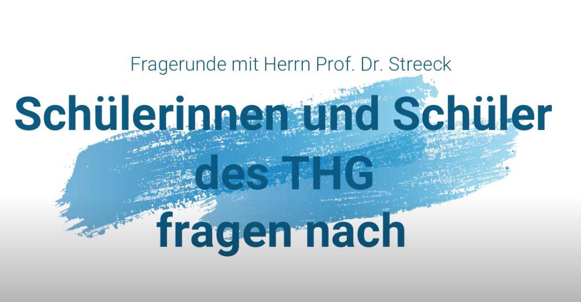 Prof. Hendrik Streeck (ehem. THG-Schüler) steht Schüler:innen Rede und Antwort zur Covid-19-Pandemie